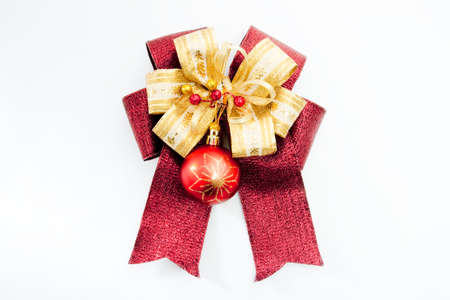 Gold and red gift bow Stock Photo