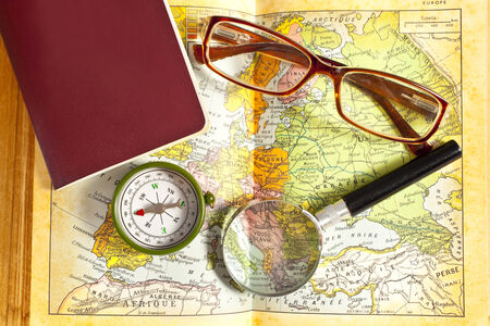 Exploration on world map Stock Photo