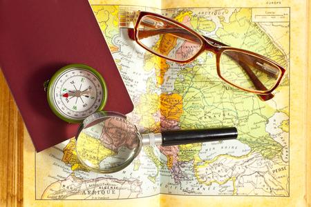 Exploration on world map Stock Photo