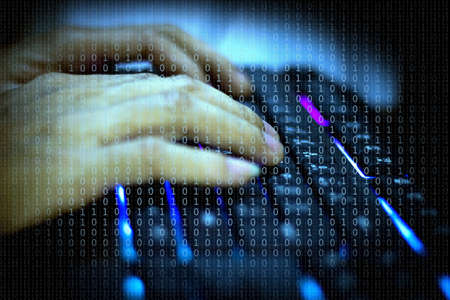 Cyber, Mens hand on the keyboard who are hacking the security system.