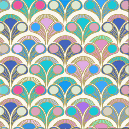 colorful peacock deco vintage abstract background pattern Stock Illustratie