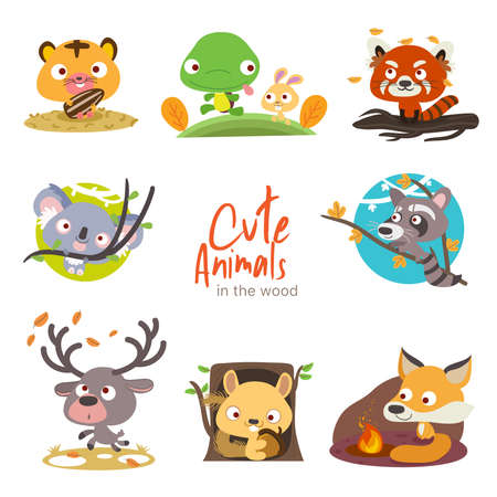 illustrations of some cute animals with a bit of scenery for your graphic resources