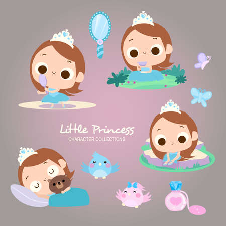 various of little princess daily activity such as admiring the mirror, sleeping, daydreaming with cute birds Illustration