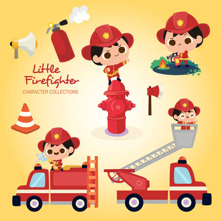 Little firefighter wearing firefighter costume Stock Vector - 117998960