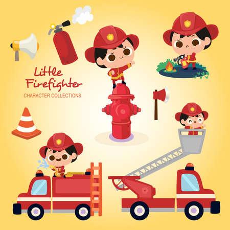 Little firefighter wearing firefighter costume Illustration
