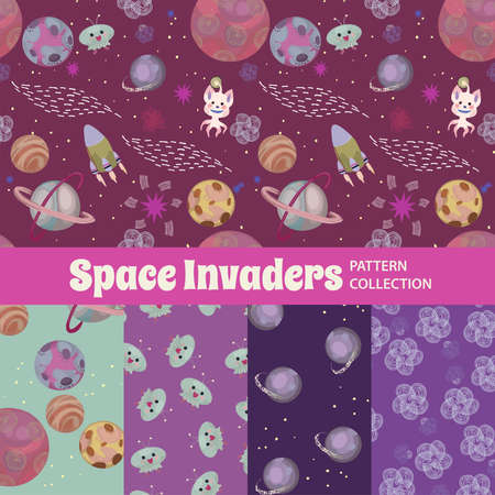Colorful illustration of so many cute things together as a seamless pattern Çizim