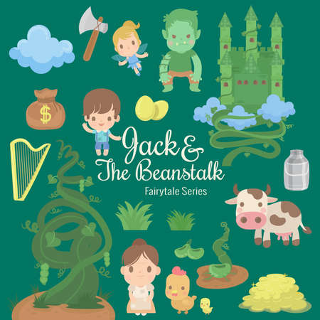 cute characters illustrations from the story jack and the beanstalk