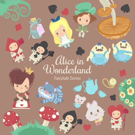 cute characters illustrations from the story alice in wonderland