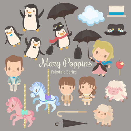 cute characters illustrations from the story mary poppins