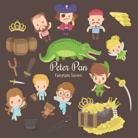 cute characters illustrations from the story peter pan