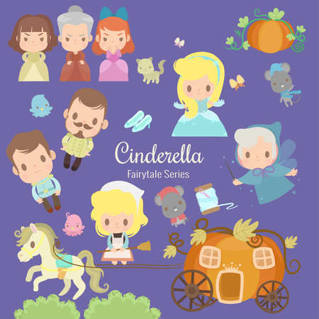 cute characters illustrations from the story cinderella