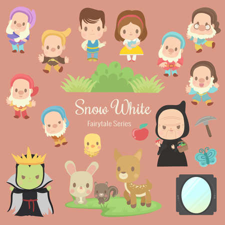 cute characters illustrations from the story snow white
