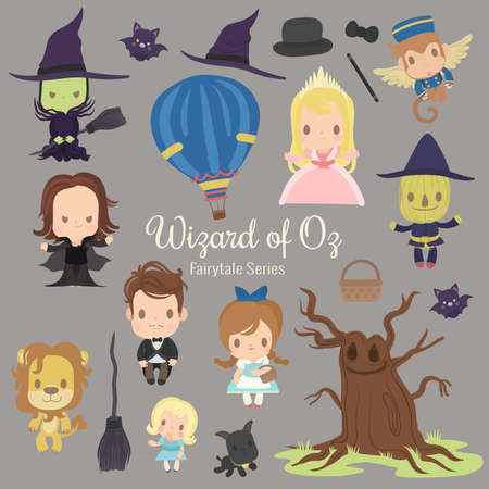 cute characters illustrations from the story wizard of oz