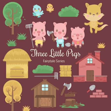 cute characters illustrations from the story three little pigs