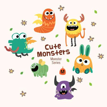schattige verzameling monsterkarakters met grappige uitdrukking voor kinderen