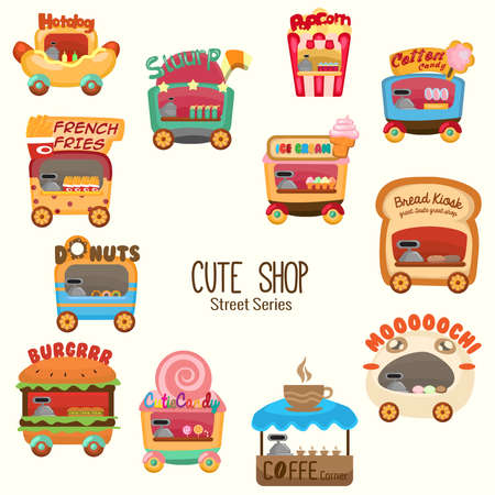 It is a collections of cute and colorful shops Illustration