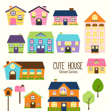 It is a collections of cute and colorful houses Vector Illustration