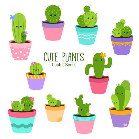 Cute cactus series with colorful and fun personality of each to brighten up your design Çizim
