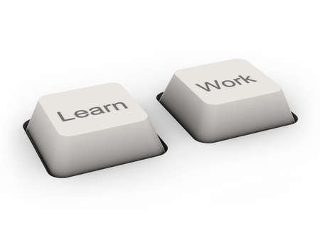 learn and work buttons (image can be used for printing or web) Stock Photo - 11322771