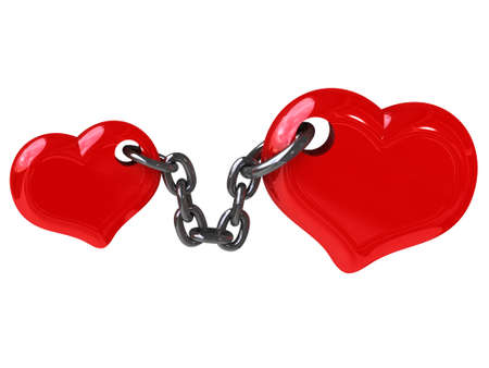 two hearts fixed by chain (can be used for a printing or web) Stock Photo - 11322806