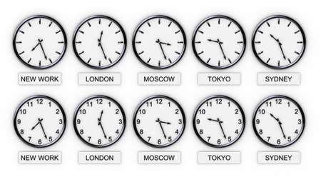 five world clocks on white background (world time)