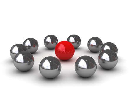 Ten chromeplated balls around of one red ball symbolize - LEADERSHIP Archivio Fotografico