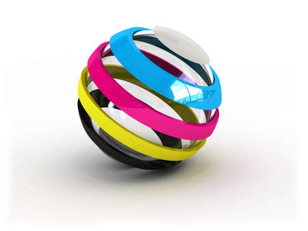 descriptive color: CMYK ball sign (image can be used for printing or web)