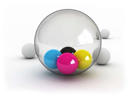 CMYK-ballen in glazen bol (afbeelding kan worden gebruikt voor het afdrukken of het web)