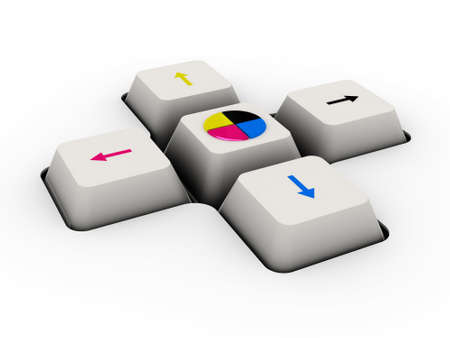 cmyk keyboard button (image can be used for printing or web) 스톡 콘텐츠