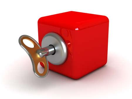 コンセプトぜんまい仕掛けのおもちゃ (イメージは印刷や web に使用することができます) 写真素材