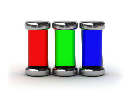 Containers filled by RGB ink (image can be used for printing or web) photo