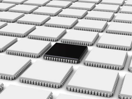 pci: 3D illustration of the computer chips