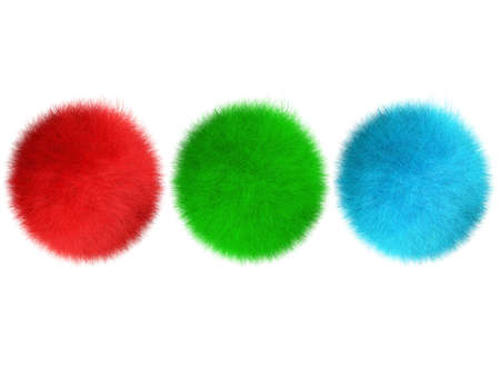 three-dimensional image of spheres covered by fur  hair