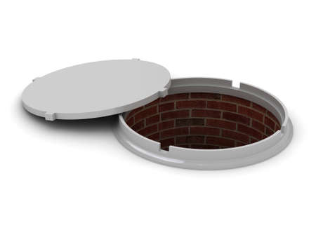 Conceptual opened manhole on a white background