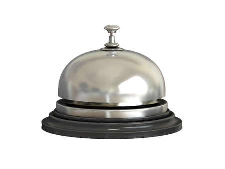 cloches: R�ception cloche chrome sur fond blanc Banque d'images