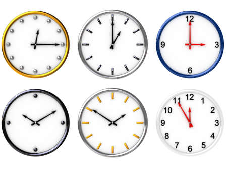 Six 3D clocks for your choice  image can be used as icon or abstract background for printing and web