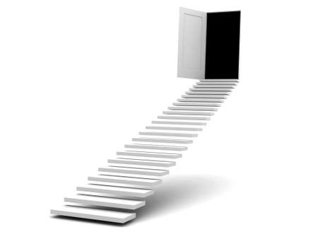 upraise: stairway leads to door  image can be used for printing or WEB