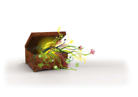 wooden chest with flowers  image can be used for printing or web  photo