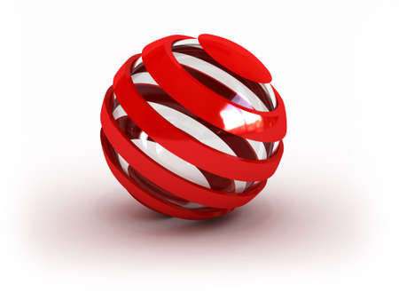 Glass striped red sphere  image can be used for printing or web  스톡 사진