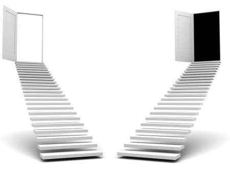 upraise: stairways leads to doors  image can be used for printing or WEB