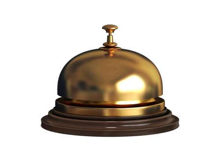 Gold Receptie bel op witte achtergrond Stockfoto