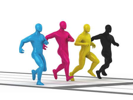 CMYK colored men group running at sport distance  3d rendered illustration  illustration