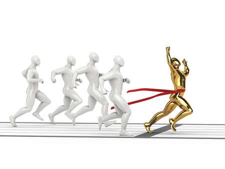Winning character joyfulness at sport distance on isolated white background  3d rendered illustration  illustration