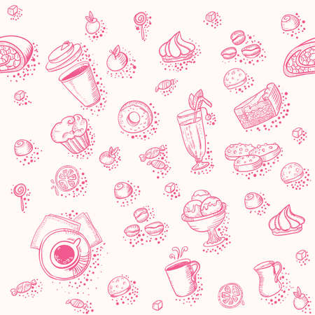 Seamless pattern with a lot of coffee and bakery element