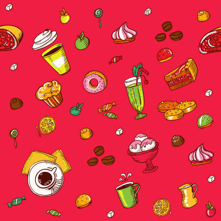 Seamless  pattern with a lot of colours kitchen element