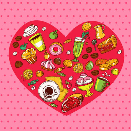 Seamless pattern with heart shape composed of bakery elements  Vector