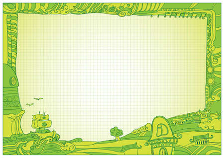 Green diploma background with doodle elements for childrens  CMYK  Vector