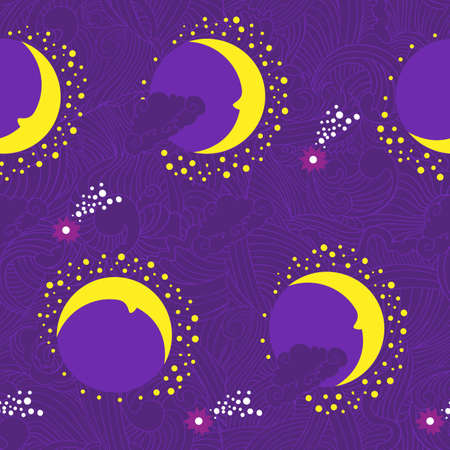 Seamless night pattern with moon and magic waves  Stock Vector - 18410768