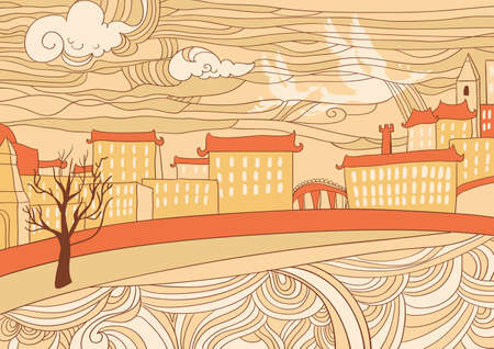 Hand drawn illustration of cityscape, naive style  Vector