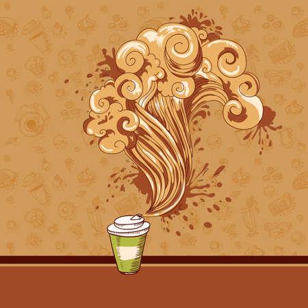 コーヒー、お菓子やペストリーと手描きメニュー カバー  イラスト・ベクター素材